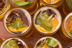 Refreshing drinks in glasses. Royalty Free Stock Image