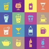 Refreshing drinks icons collection illustration Stock Photos