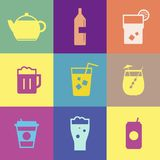 Refreshing drinks icons collection illustration Royalty Free Stock Image