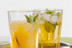 Refreshing Drinks On White Background Stock Photos