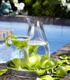 Refreshing drinks by the pool Stock Image