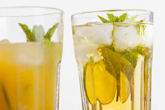 Refreshing drinks on white background Royalty Free Stock Images