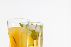 Refreshing drinks on white background Royalty Free Stock Photography