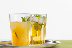 Refreshing drinks on white background Royalty Free Stock Photos