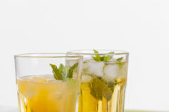 Refreshing drinks on white background Stock Image