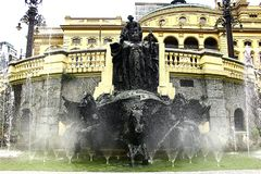 The refreshing fountain. stock images