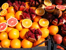 Refreshing fruit. Different citrus fruits on display on a juice stall in Istanbul Stock Image