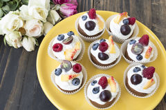 Refreshing Fruit Cupcakes Stock Photography