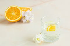 A refreshing fruit juice with mint sliced lemon and orange. A refreshing fruit juice with sliced lemon and orange, mint on a light background Stock Photos