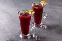 Refreshing fruit punch beverage in glass Stock Photo