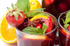 Refreshing fruit sangria, closeup Stock Images