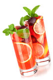 Refreshing fruit sangria (punch) Stock Image