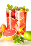 Refreshing fruit sangria (punch) Stock Photos