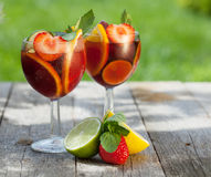 Refreshing fruit sangria (punch) Stock Photography