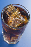 Refreshing glass of cola with lemon and ice Royalty Free Stock Photos