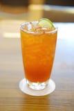 Refreshing glass of ice cold lemon tea. Summer drink Stock Photo