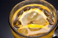Ice lemon tea closeup. royalty free stock image