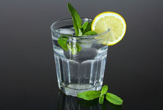 Refreshing glass of water with ice cubes flavored with lemon and mint. Summer refreshment. Royalty Free Stock Photography