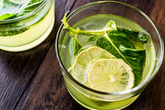 Refreshing green bitter lemon cocktail with mint leaves and lime. Stock Photography