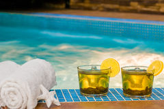 Refreshing green tea and towels Stock Image