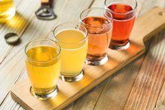 Refreshing Hard Cider Flight. Of Beers to Drink stock images