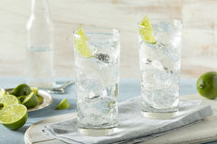 Refreshing Hard Sparkling Water. With a Lime Garnish stock image