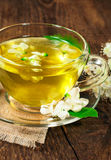 Refreshing herbal tea in a glass cup Stock Images