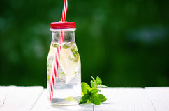 Refreshing homemade flavored water with lemon, lime and mentha on a white table in garden. Summer time. Beverages. Stock Photos