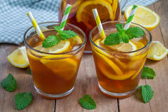 Refreshing homemade lemon iced tea Stock Image