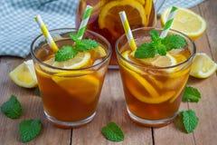 Refreshing homemade lemon iced tea Stock Image