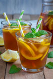 Refreshing homemade lemon iced tea Royalty Free Stock Images