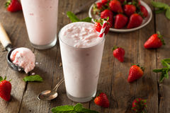 Refreshing Homemade Strawberry Milkshake Stock Photos