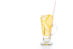 Refreshing ice cold ginger lemon tea in transparent glass Royalty Free Stock Photo
