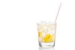 Refreshing ice cold ginger lemon tea in transparent glass Stock Photography