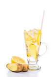 Refreshing ice cold ginger lemon tea in transparent glass on vertical format Stock Image