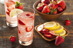Refreshing Ice Cold Strawberry Lemonade Stock Photo