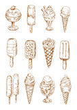 Refreshing ice cream and popsicles sketches. Refreshing fruity popsicles and chocolate covered ice cream bars on sticks, ice cream waffle cones and sundae Stock Images