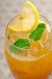 Refreshing Ice tea. Closeup macro with lemon and mint leaves Stock Photos