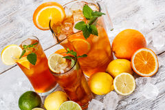 Refreshing ice tea. With lemon and mint Stock Images