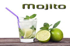 Refreshing Iced Rum, Lime And Mint Mojito Cocktail Royalty Free Stock Photos