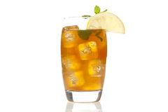 Refreshing Iced Tea with Lemon. Against a background stock photography