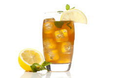 Refreshing Iced Tea with Lemon. Against a background royalty free stock photo