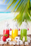 Refreshing juice at the beach. Refreshing juice bottles of different colors with fresh fruites, flowers and ice on wooden table with natural beach background Stock Photos