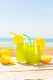 Refreshing juice on the sea Stock Image