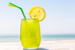 Refreshing juice on the sea Stock Photography