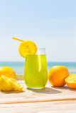 Refreshing juice on the sea Stock Photo