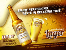 Refreshing lager beer ads. Best summer drink ads with glass beer cup and bottle isolated on fizzy beer background in 3d illustration Stock Photography