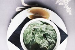 Refreshing lemon balm tea with lemon. stock photography
