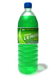 Refreshing lemon drink in plastic bottle Stock Image