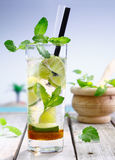 Refreshing lemon or lime cocktail Royalty Free Stock Photo
